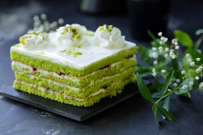 green pistachio cake with butter cream, dessert